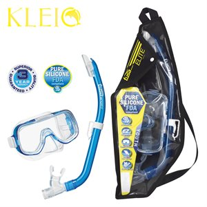 MINI-KLEIO MASK & SNORKEL SET JUNIOR (UM2000 / USP140) - CLEAR BLUE