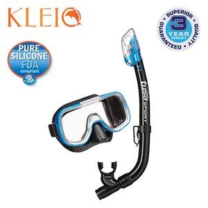 MINI-KLEIO MASK & DRY SNORKEL SET (UM2000 / USP220) - FISHTAIL BLUE / BLACK