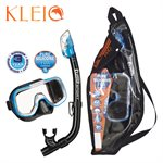 MINI-KLEIO MASK & DRY SNORKEL SET (UM2000 / USP220) - FISHTAIL BLUE / BLACK