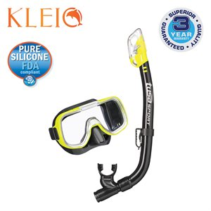 MINI-KLEIO MASK & DRY SNORKEL SET (UM2000 / USP220) - FLASH YELLOW / BLACK