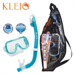 MINI-KLEIO MASK & DRY SNORKEL SET (UM2000 / USP220) - CLEAR GREEN