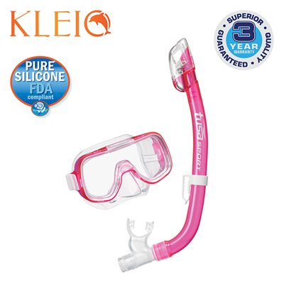 MINI-KLEIO MASK & DRY SNORKEL SET (UM2000 / USP220) - CLEAR PINK