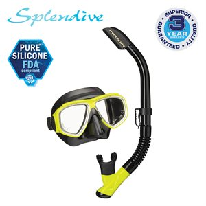 SPLENDIVE MASK & SNORKEL SET, BLACK / FLASH YELLOW (UM7500 / USP190)