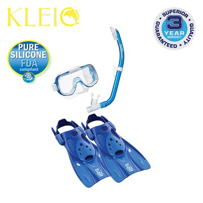 MINI-KLEIO MASK, SNORKEL & FIN SET JUNIOR (UM2000 / USP140 / UF0103) - CLEAR BLUE, SMALL