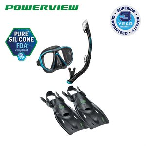 POWERVIEW MASK,DRY SNORKEL&FIN SET(UM24 / USP250 / UF21) - BLK / OCEAN GREEN, LARGE